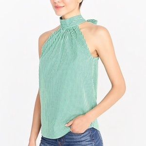 J. Crew Factory Green Gingham Tie Neck Top 4